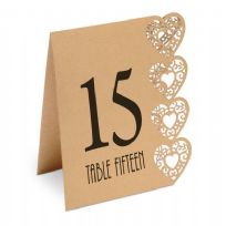 Kraft Heart Laser Cut Design Wedding Table Numbers 1-15